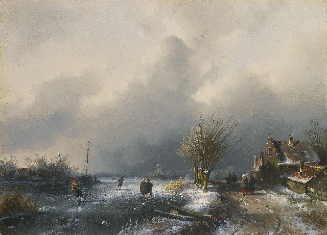 Charles Leickert | Ice scene with snowstorm approaching, oil on panel, 20.4 x 28.2 cm, signed l.r. and to be dated ca. 1852