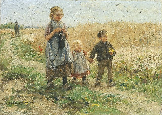Jan Zoetelief Tromp | Children in a corn field, oil on panel, 24.3 x 33.9 cm, signed l.l.