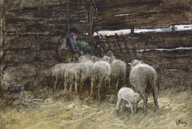 Anton Mauve | The sheep fold, watercolour and gouache on paper, 33.0 x 47.0 cm, signed l.r.