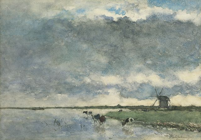 Jan Hendrik Weissenbruch | Polder landscape with windmills and cattle, watercolour on paper, 38.7 x 54.6 cm, signed l.r.