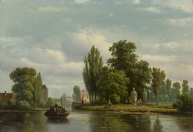 Vrolijk J.A.  | A summer view of the Vecht river, oil on panel 28.5 x 41.0 cm, signed l.l. and dated '58