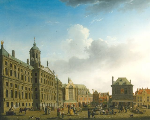 Isaac Ouwater | The Dam with the City hall and the Waag, Amsterdam, oil on canvas, 61.6 x 77.8 cm, signed l.r. and dated 1782