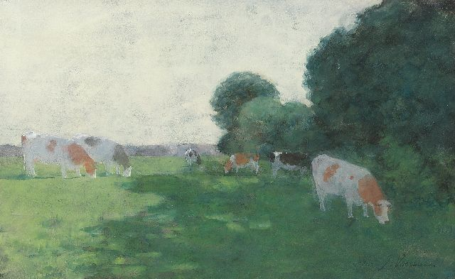 Voerman sr. J.  | Grazing cattle, watercolour on paper 30.0 x 47.7 cm, signed l.r.