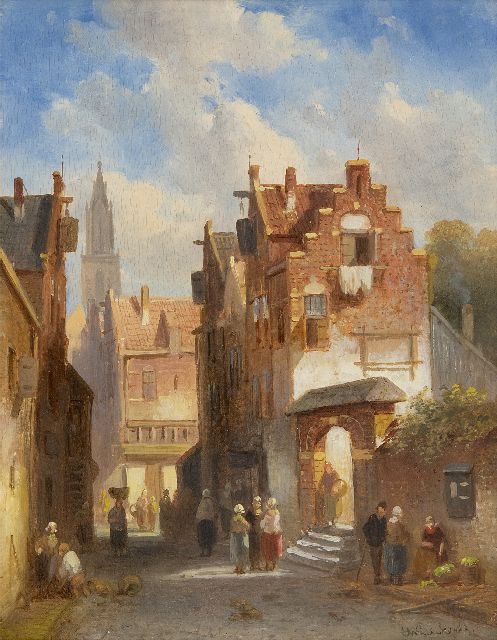 Leickert C.H.J.  | Market day in a Dutch town, oil on panel, 27.0 x 21.2 cm, signed l.r.