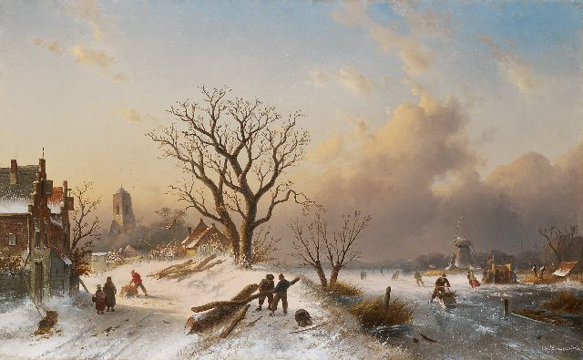 Charles Leickert | Dutch winter landscape with skaters on the ice, oil on canvas, 62.0 x 101.0 cm, signed l.r. and painted circa 1860-1865