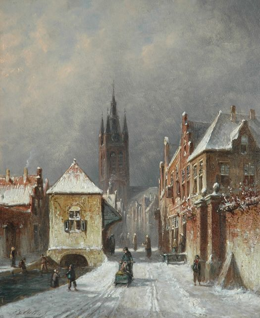 Petrus Gerardus Vertin | A cityview in winter of Delft, oil on panel, 24.1 x 20.0 cm, signed l.l.