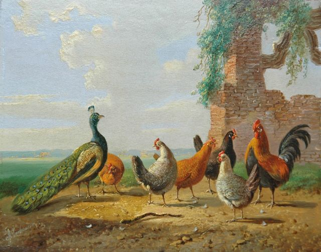 Albertus Verhoesen | A peacock, cock and his fowls in a summer landscape, oil on panel, 13.6 x 16.9 cm, signed l.l.