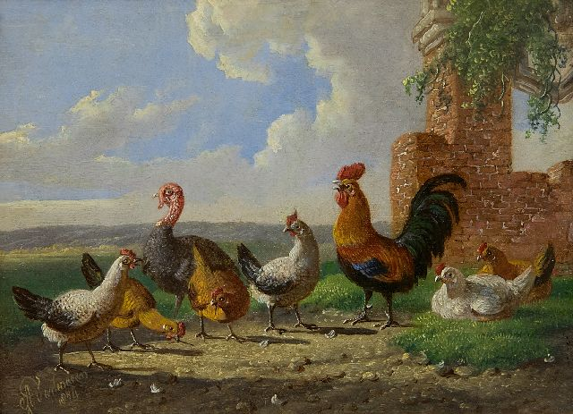 Albertus Verhoesen | A turkey, a cock and some chicken in a landscape, oil on panel, 13.0 x 17.6 cm, signed l.l. and dated 1874