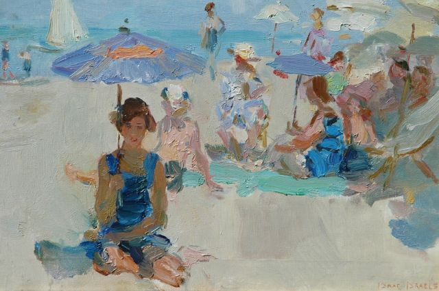 Israels I.L.  | A sunny day on the beach at Viareggio, oil on canvas, 37.2 x 54.1 cm, signed l.r.