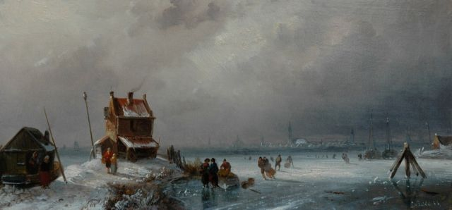 Charles Leickert | Skaters on a cloudy winter's day, oil on panel, 14.4 x 30.4 cm, signed l.r.