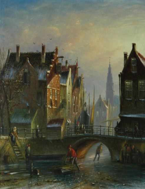 Johannes Franciscus Spohler | Figures on a Dutch canal in winter, oil on panel, 20.5 x 16.0 cm, signed l.l.