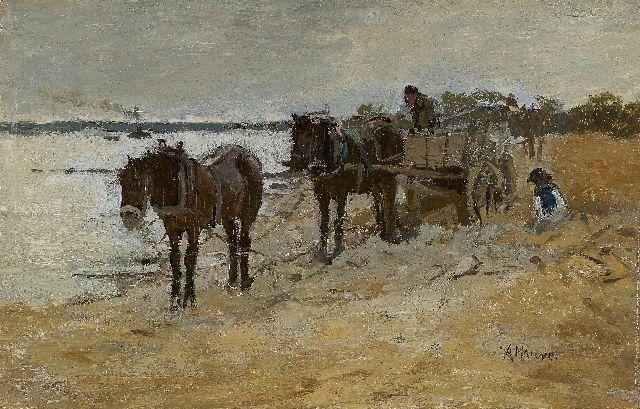 Anton Mauve | Sand diggers, oil on panel, 13.4 x 20.8 cm, signed l.r.
