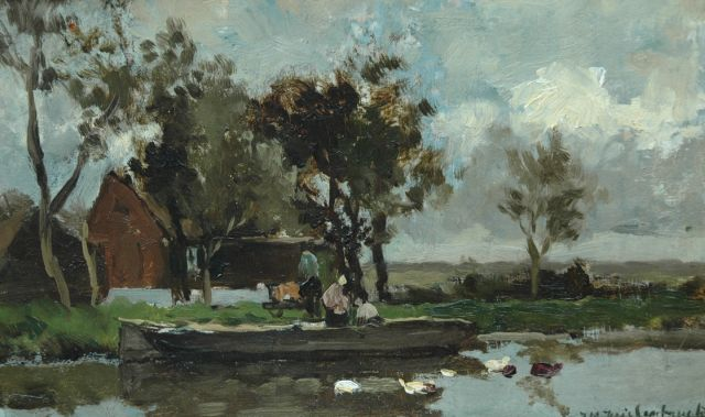 Weissenbruch H.J.  | Moored along the canal, oil on canvas laid down on board 19.8 x 31.8 cm, signed l.r.