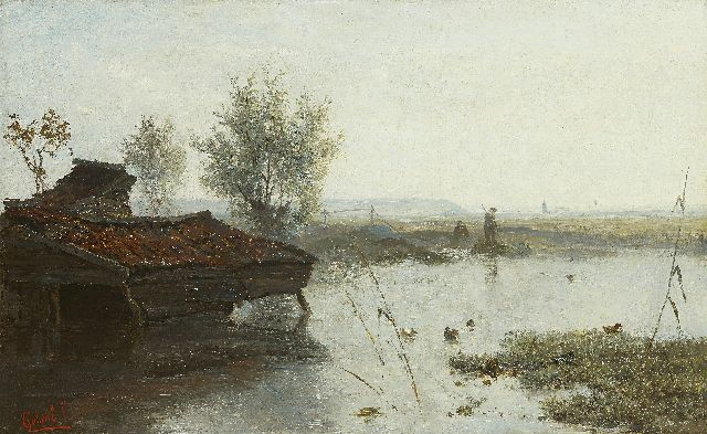 Paul Joseph Constantin Gabriel | Fishermen at a duck pond, oil on canvas, 28.9 x 46.4 cm, signed l.l.