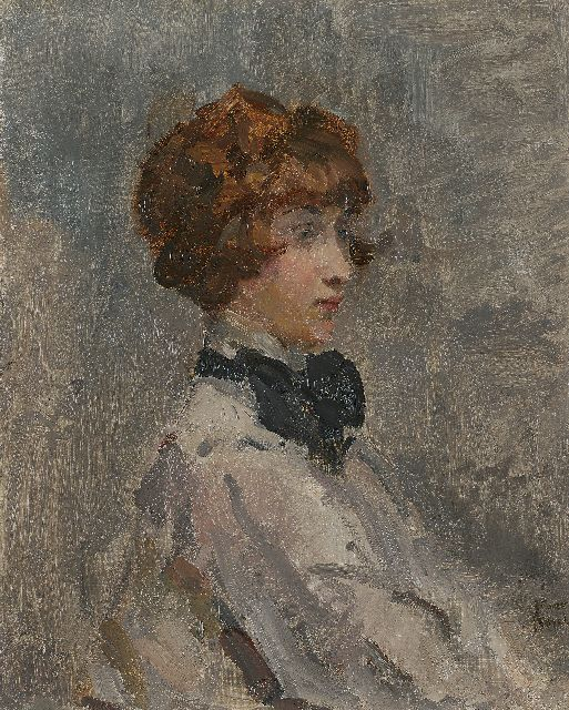 Israels I.L.  | Young lady in grey, oil on canvas, 55.8 x 45.5 cm, signed l.r.