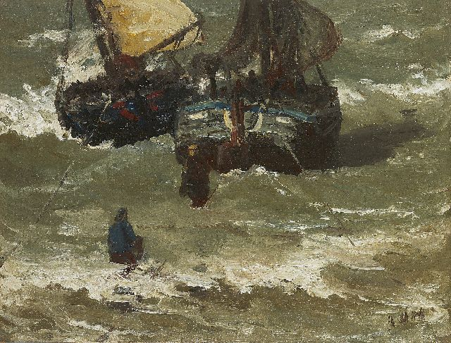 Hendrik Willem Mesdag | Two bomschuiten in the surf, oil on canvas laid down on panel, 29.2 x 38.5 cm, signed l.r. with initials