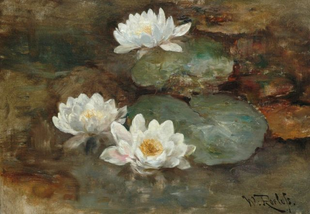 Roelofs W.  | Waterlilies, oil on canvas, 41.1 x 58.3 cm, signed l.r.