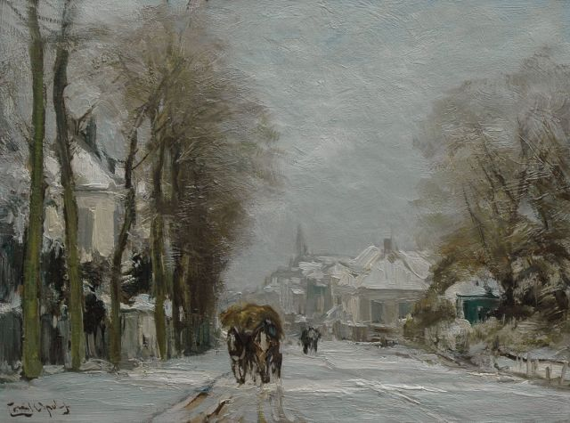 Louis Apol | A horse-drawn cart in the snow, oil on canvas, 30.2 x 40.3 cm, signed l.l.