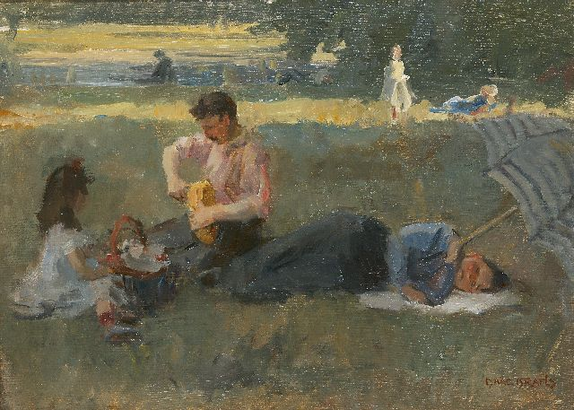 Israels I.L.  | Picnic in the Bois de Boulogne, Paris, oil on canvas, 43.5 x 60.0 cm, signed l.r. and painted circa 1905