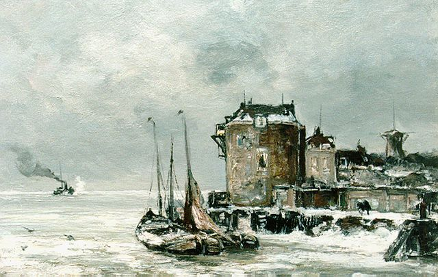 Louis Apol | A view of 'de Campveersche toren' in winter, oil on canvas, 42.5 x 60.0 cm, signed l.r.