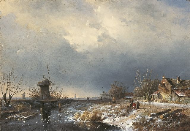 Charles Leickert | Ice scene with approaching storm, oil on canvas, 36.7 x 53.5 cm, signed l.r. and painted ca. 1855