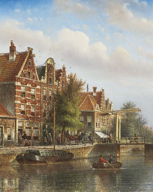 Johannes Franciscus Spohler | A town scene in summer, oil on canvas, 44.0 x 35.0 cm, signed l.l.