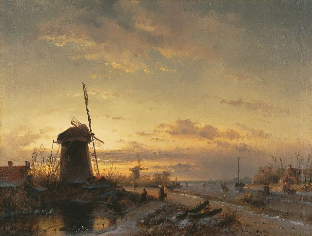 Leickert C.H.J.  | Landscape with skaters at sunset, oil on canvas 43.5 x 57.6 cm, signed l.l. remainders of signature