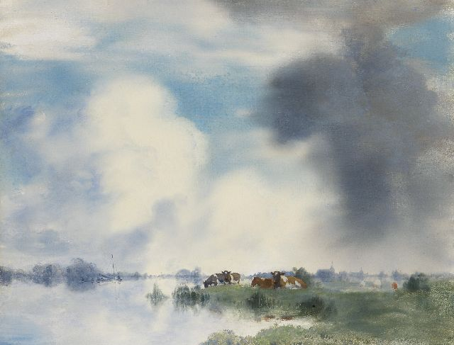Jan Voerman sr. | Cows on the banks of the IJssel river near Hattem, oil on panel, 39.9 x 52.2 cm, signed l.r.