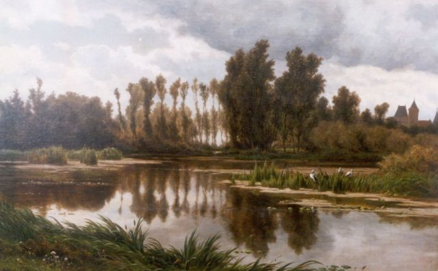 Adrianus van Everdingen | A pond with a castle in the distance, oil on canvas, 68.0 x 109.0 cm