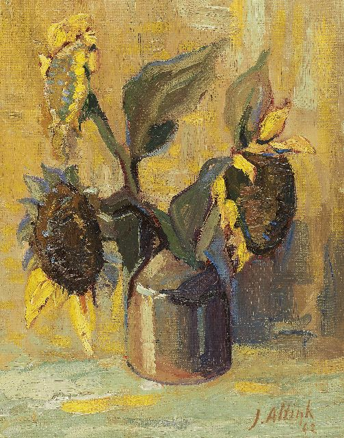 Jan Altink | Sunflowers, oil on canvas laid down on board, 38.2 x 30.1 cm, signed l.r. and dated ' 42