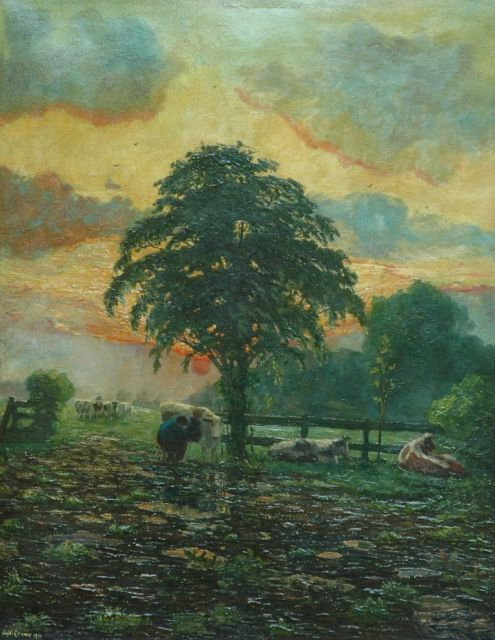 Adriaan Herman Gouwe | Milking the cows at sunset, Limburg, oil on canvas, 92.5 x 72.5 cm, signed l.l. and dated 1911