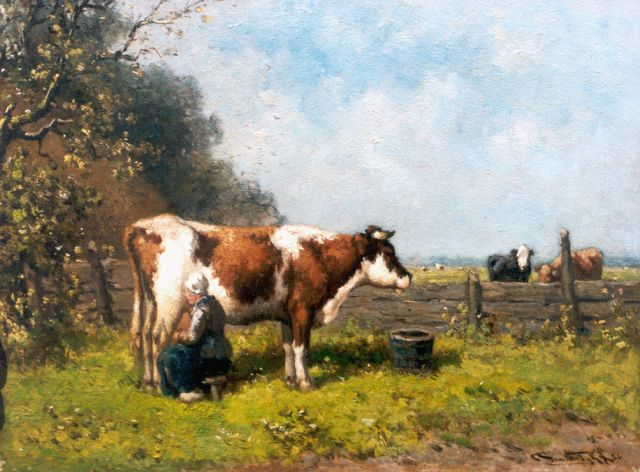 Jan Vrolijk | Milking time, oil on panel, 24.3 x 31.7 cm, signed l.r. and dated '56