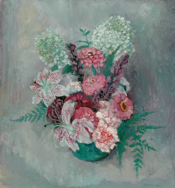 Germ de Jong | Flower stillife wit lilies and zinnia, oil on canvas, 46.2 x 42.3 cm, signed l.r.