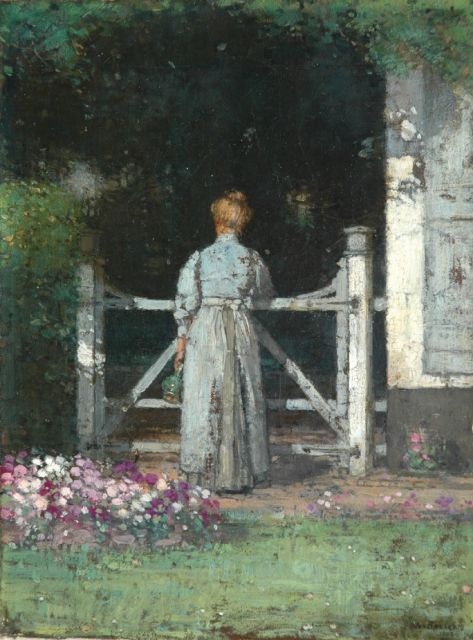 Jan Bogaerts | Near the garden fence, oil on canvas, 32.2 x 23.6 cm, signed l.r. and dated 1909