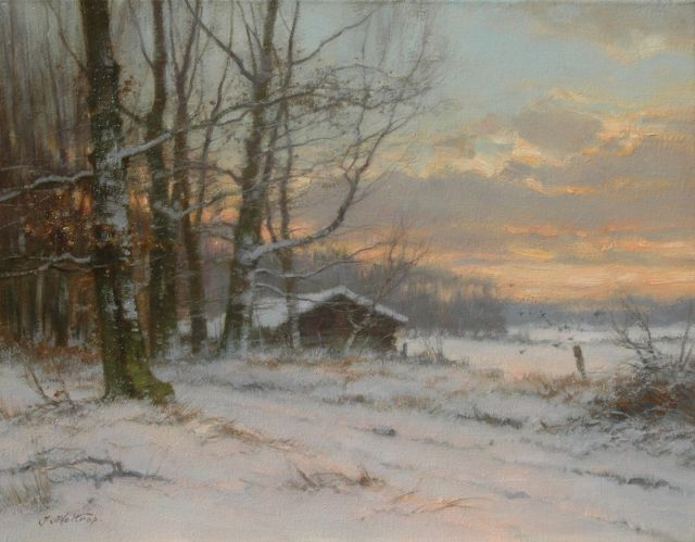 Jan Holtrup | Landscape in winter at dusk, oil on canvas, 35.0 x 45.2 cm, signed l.l.