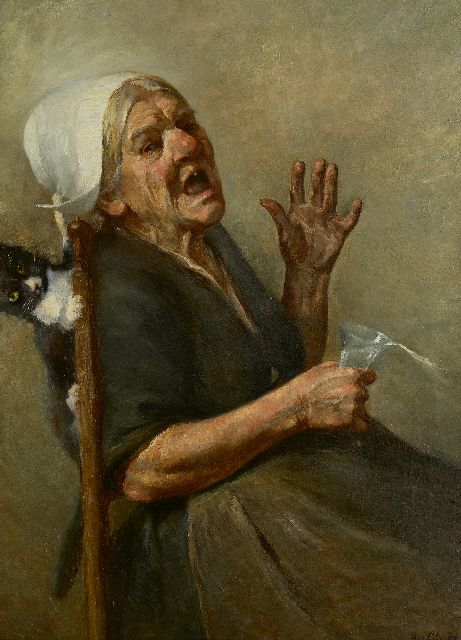 Alandt M.A.  | Ouch! Suprised by the cat, oil on canvas 81.5 x 62.5 cm, signed l.r.