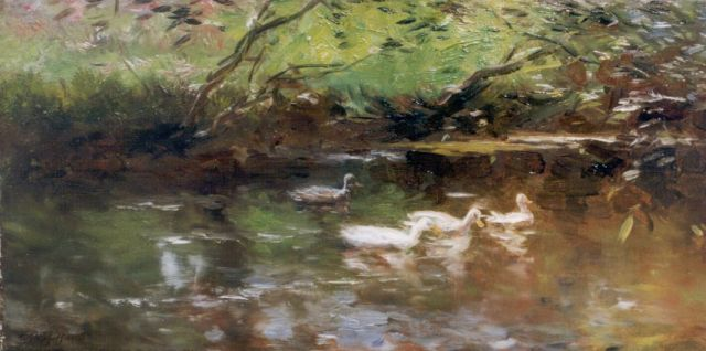 Maris W.  | Ducks, oil on canvas 22.0 x 44.0 cm, signed l.l.
