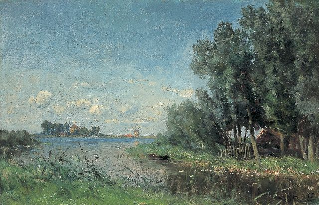 Roelofs W.  | Near the Abcoude lake, oil on canvas laid down on panel, 29.0 x 44.7 cm, signed l.r.