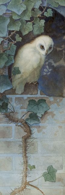 Beb Reith | Owl (Nighttime), watercolour on paper, 66.0 x 23.0 cm, signed l.l. with monogram and on the reverse