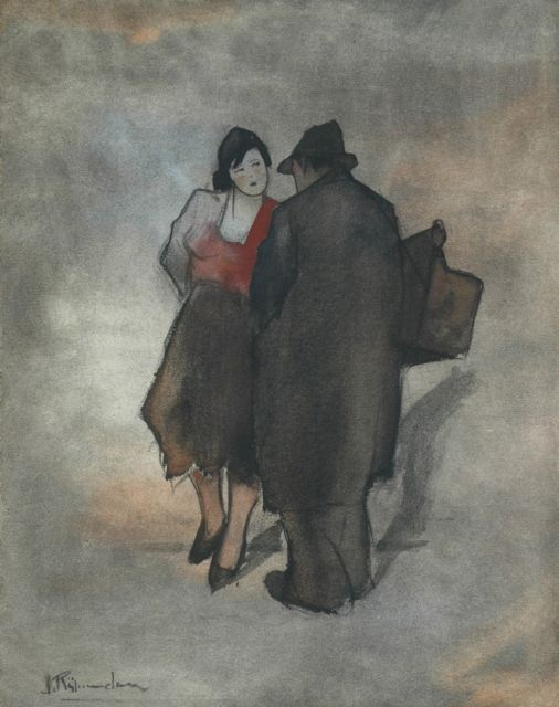 Jan Rijlaarsdam | The conversation, black chalk and watercolour on paper, 44.3 x 34.5 cm, signed l.l.