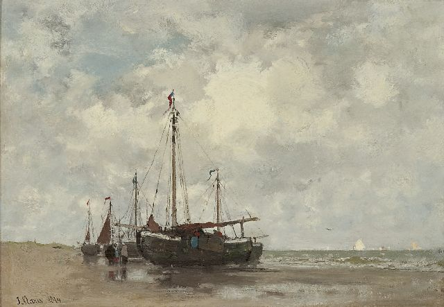 Jacob Maris | Fishing boats on the beach, oil on canvas, 32.9 x 46.4 cm, signed l.l. and dated 1874