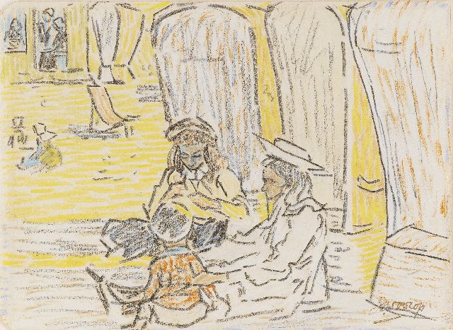 Toorop J.Th.  | Children playing on the beach, pencil and coloured chalk on paper 11.5 x 15.6 cm, signed l.r. and painted circa 1907