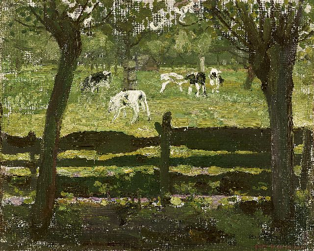 Mondriaan P.C.  | Calves in the meadow - 'het white bull-calf', oil on canvas laid down on board, 31.0 x 39.1 cm, signed l.r. and painted ca. 1905