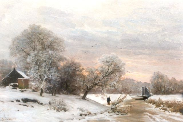 Louis Apol | Early morning in winter, oil on panel, 27.6 x 42.0 cm, signed l.l.