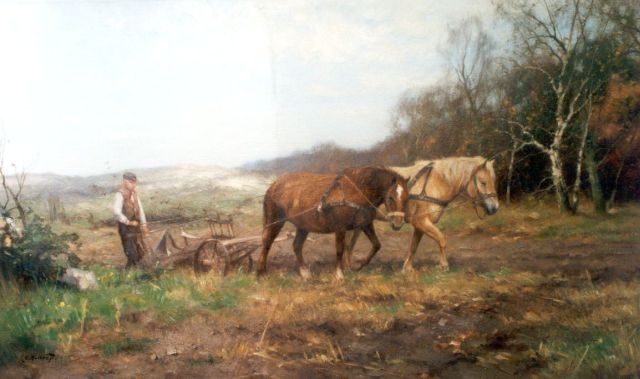 Jan Holtrup | Ploughing the fields, oil on canvas, 60.0 x 100.4 cm, signed l.l.