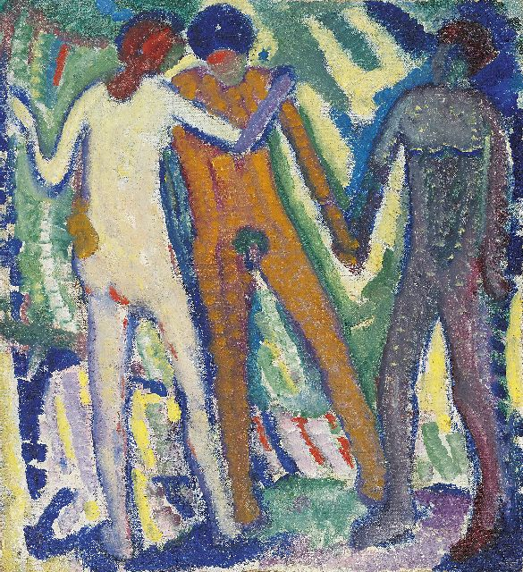 Mommie Schwarz | Three figures, oil on canvas, 42.2 x 37.5 cm, painted circa 1912-1913