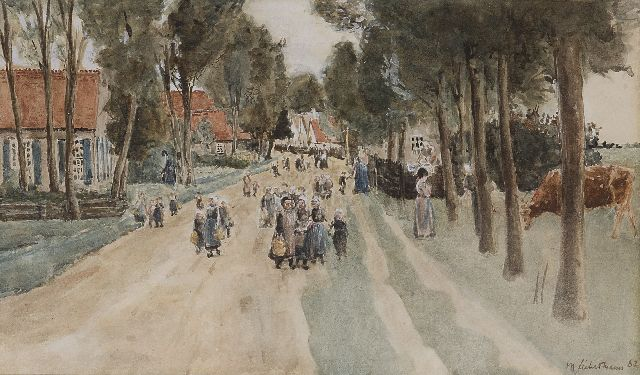 Liebermann M.  | A village street in Holland, watercolour on paper 18.3 x 29.7 cm, signed l.r. and dated '82