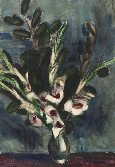 Henri Le Fauconnier | Sword lilies, black chalk and watercolour on paper, 99.1 x 68.4 cm, signed l.r. with initials
