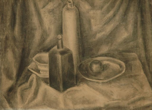 Leo Gestel | Still life with jars, cup and saucer and a fruit bowl, black chalk on paper, 73.5 x 98.3 cm, signed l.r. and dated '21