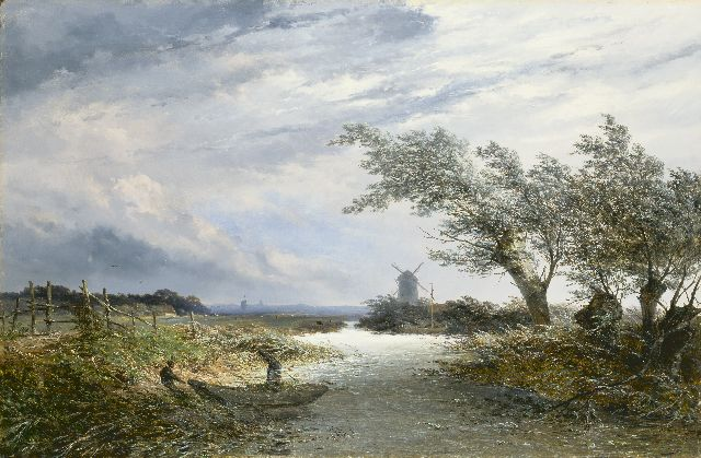 Josephus Gerardus Hans | Landscape with pollard willows and a mill, oil on canvas, 71.7 x 109.7 cm, signed l.r. and dated '70